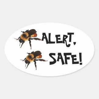 Bee Alert, Bee Safe! Honey Bees Oval Sticker
