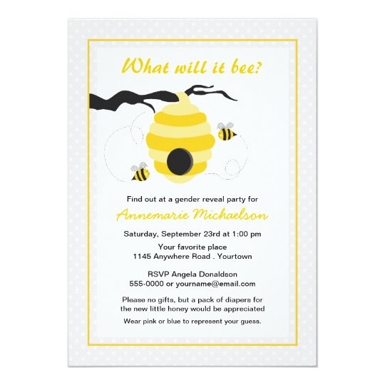 Bee and Beehive Gender Reveal Baby Shower Card Zazzlecom