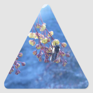 Bee and Berberis Flowers Triangle Sticker