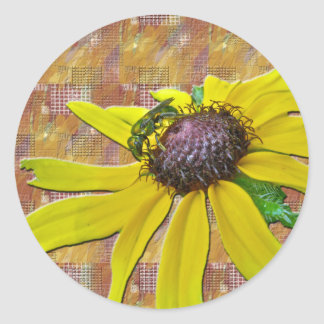 Bee and Black Eyed Susan Welcome Neighbor Classic Round Sticker