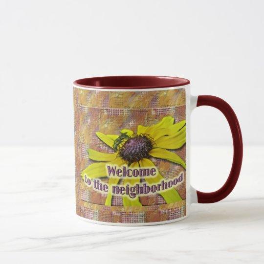 Bee and Black Eyed Susan Welcome Neighbor Mug