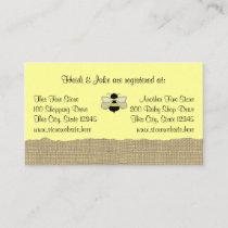Bee and Burlap Baby Registry Card