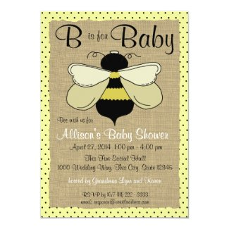 Bee and Burlap Baby Shower Card