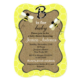 Bee and Burlap Baby Shower Invitations