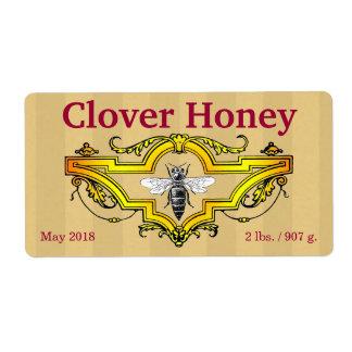 Bee and Clover Honey Jar Label