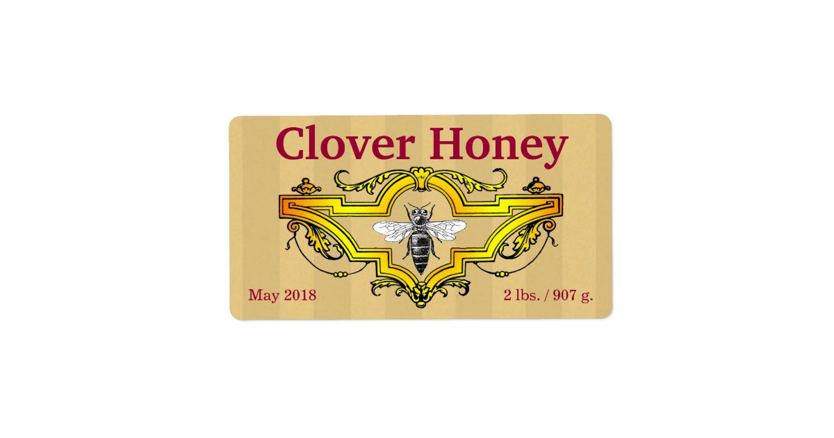 Bee And Clover Personalized Honey Jar Label Zazzle Com