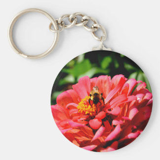 Bee and coral zinnia keychain