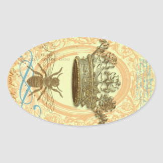 Bee and Crown Oval Sticker