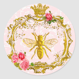 Bee and Crown Royal Seals Classic Round Sticker