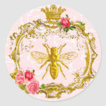 Bee and Crown Royal Seals Round Stickers