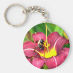 Bee and Daylily Basic Round Button Keychain