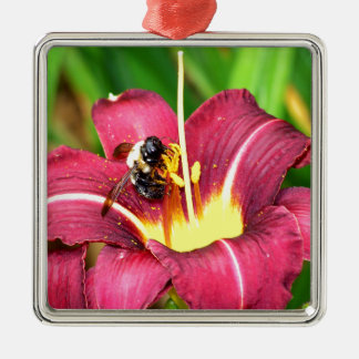 Bee and Daylily Christmas Ornament