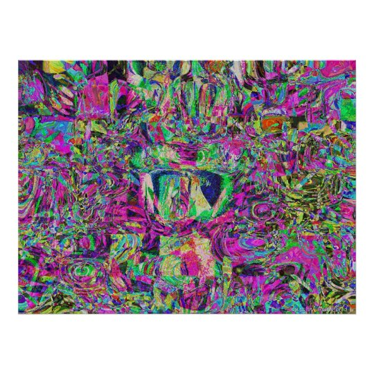 Bee and flower abstract hundertwasser poster