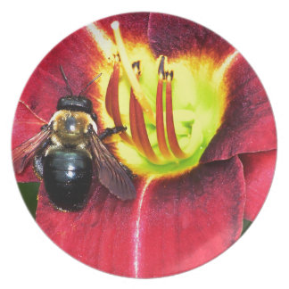 Bee and Flower Melamine Plate