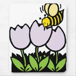 Bee and Flowers Mouse Pad