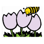 Bee and Flowers Postcard