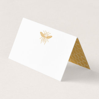 Bee and Golden Honeycomb Pattern Place Card