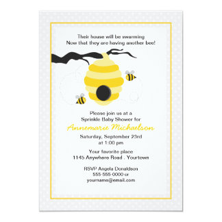 Bee and Hive Sprinkle Baby Shower Invitation