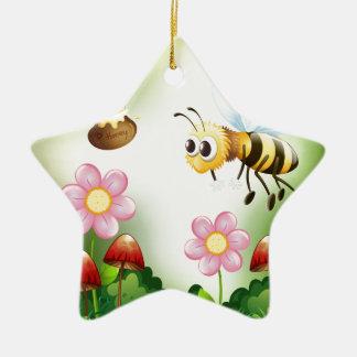 Bee and honey ceramic ornament