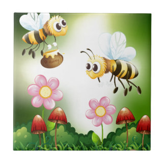 Bee and honey ceramic tile