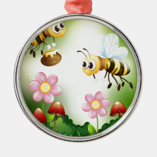 Bee and honey metal ornament