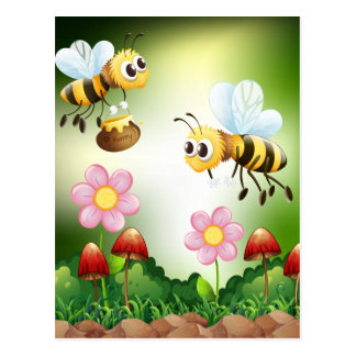 Bee and honey postcard