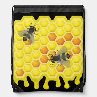 Bee and honeycomb drawstring bag