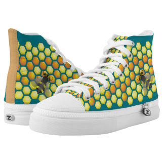 Bee and honeycomb High-Top sneakers