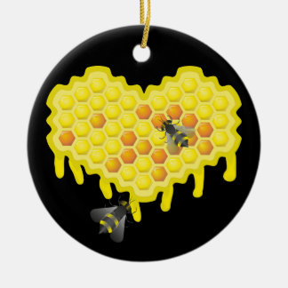 Bee and honeycomb sweet heart ceramic ornament