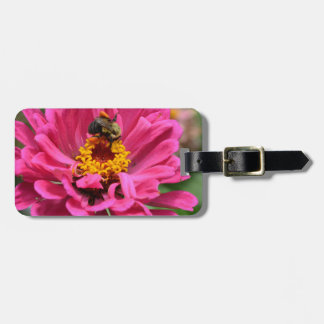Bee and pink flower luggage tag