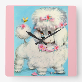 bee and poodle puppy square wall clock