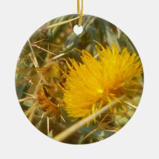 Bee and Star Thistle (Centaurea solstitialis) Ceramic Ornament