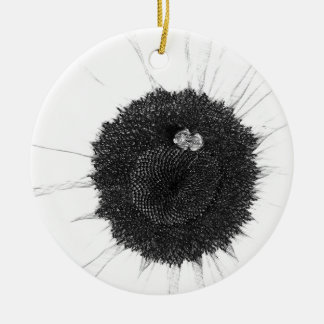Bee and Sunflower Pencil Sketch Ceramic Ornament