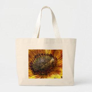 Bee and Sunflower Postcard Digital Art Canvas Bags