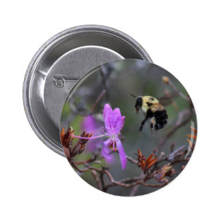 Bee and Wildflower Pinback Button