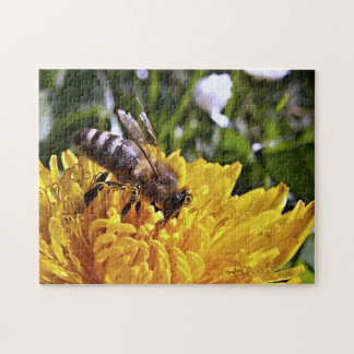 Bee and Yellow Flower Jigsaw Puzzle