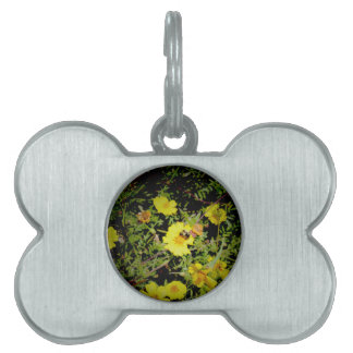 Bee and yellow flowers. pet tag
