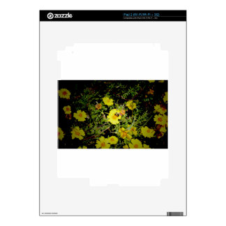 Bee and yellow flowers. skins for the iPad 2