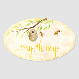 Bee Apiary Honey Jar Stickers