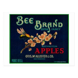 Bee Apple Crate Label Postcard