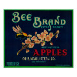 Bee Apple Crate Label Poster