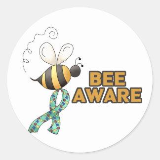 Bee Aware Autism Awareness Round Sticker