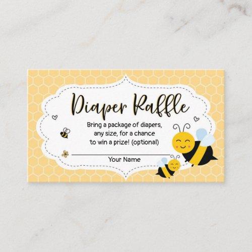 Bee Baby Shower Diaper Raffle Card