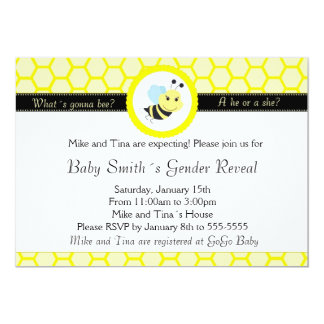 Bee Baby Shower Gender Reveal Invitation