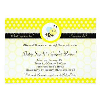 Bee Baby Shower Gender Reveal Polka Dot 5x7 Paper Invitation Card