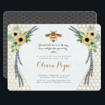 "Bee Baby Shower Invitation<br><div class=""desc"">A collage of hives and sun flowers leaves and a gold bee - perfect for the mom-to-bee!</div>"