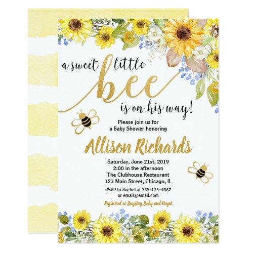 Bee baby shower invitation boy yellow bumblebee