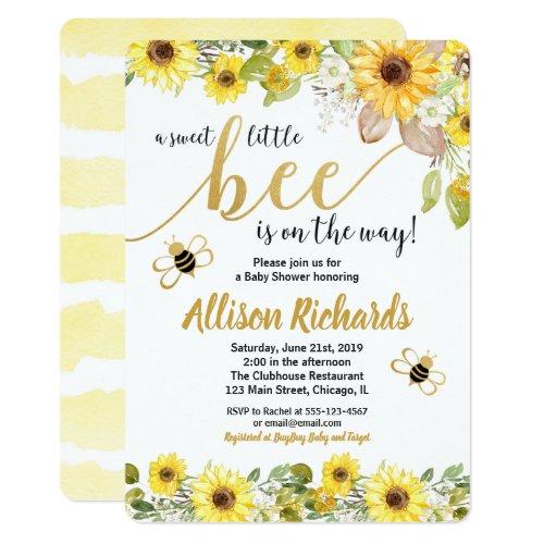 Bee baby shower invitation girl yellow bumblebee
