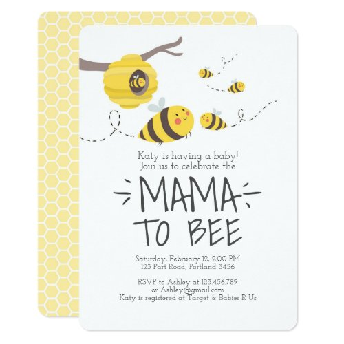 bee baby shower invitation honey comb Bumble bee