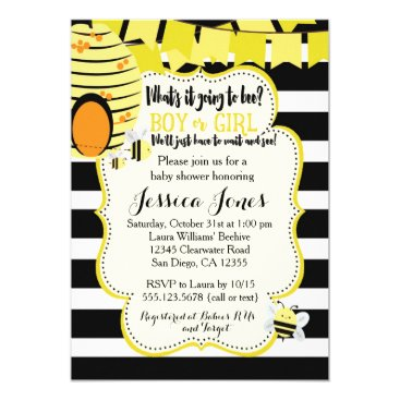 Toddler & Baby themed Bee Baby Shower Invitation or Gender Reveal Party